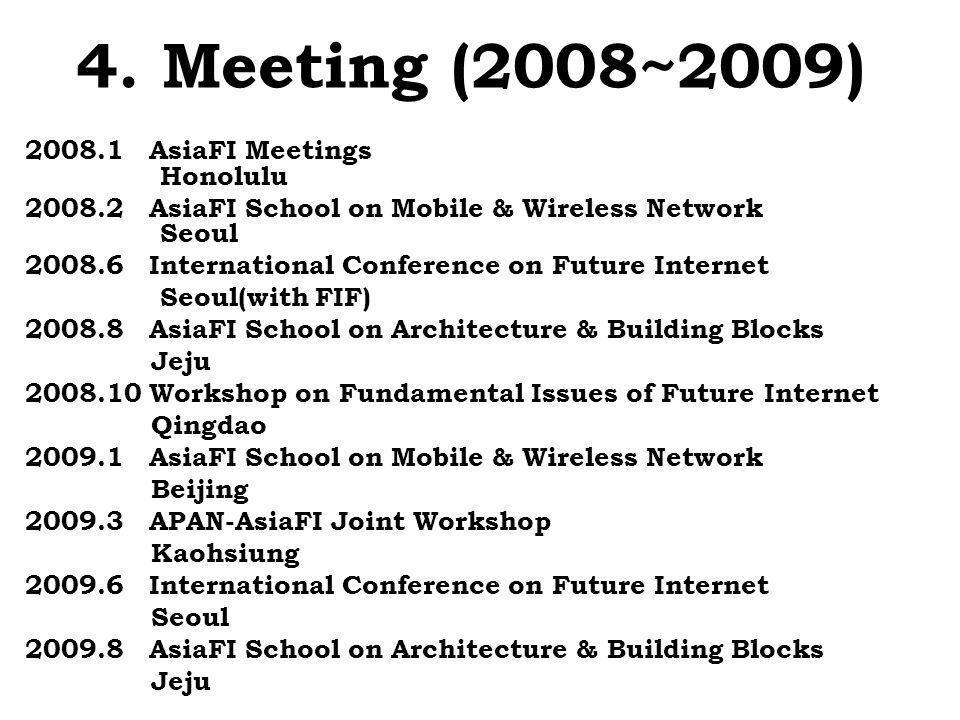 4. Meeting (2008~2009) 2008.1 AsiaFI Meetings Honolulu 2008.2 AsiaFI School on Mobile & Wireless Network Seoul 2008.6 International Conference on Futu
