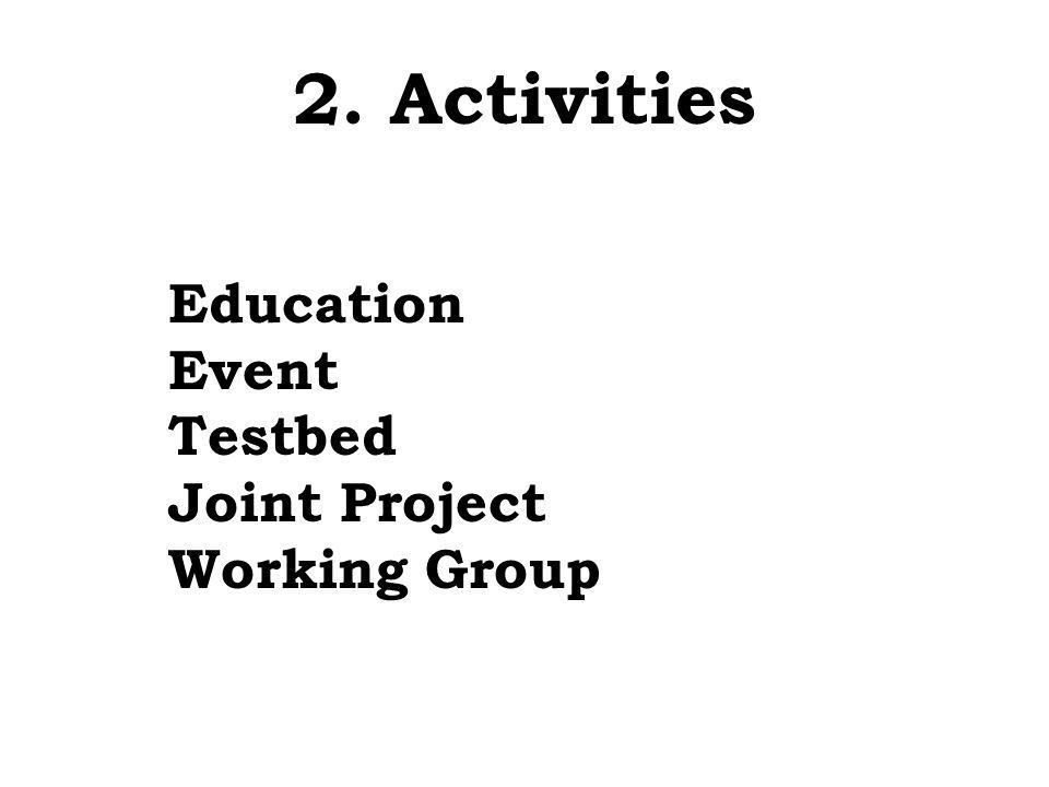 2. Activities Education Event Testbed Joint Project Working Group