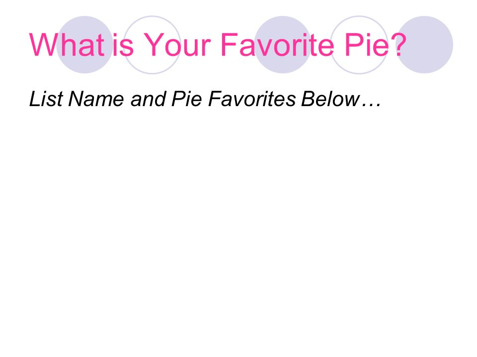 What is Your Favorite Pie List Name and Pie Favorites Below…
