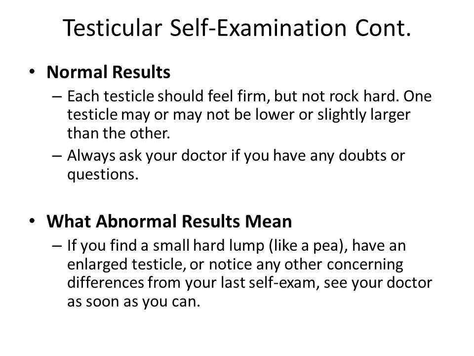 Testicular Self-Examination Cont. Normal Results – Each testicle should feel firm, but not rock hard. One testicle may or may not be lower or slightly