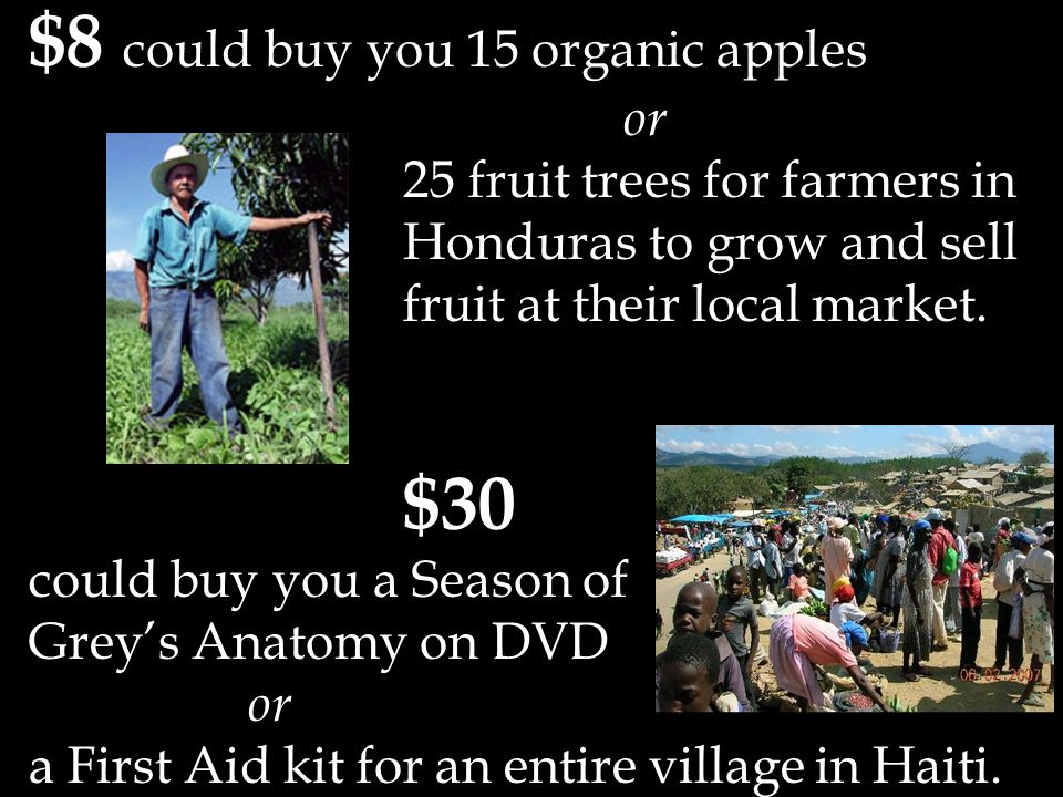 $8 could buy you 15 organic apples or 25 fruit trees for farmers in Honduras to grow and sell fruit at their local market.