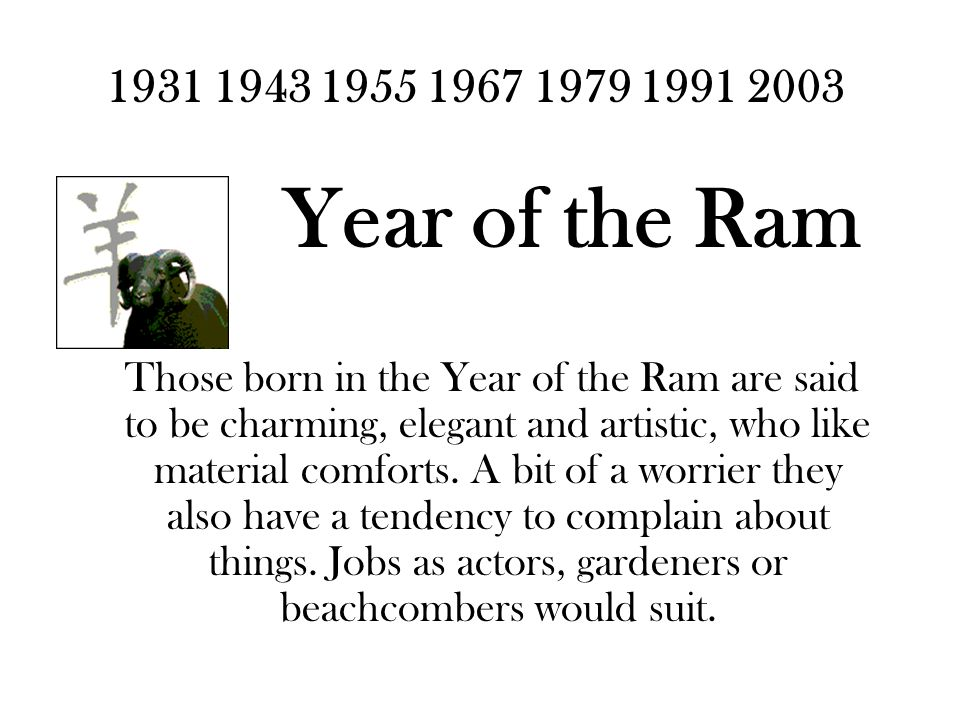 1931 1943 1955 1967 1979 1991 2003 Year of the Ram Those born in the Year of the Ram are said to be charming, elegant and artistic, who like material comforts.
