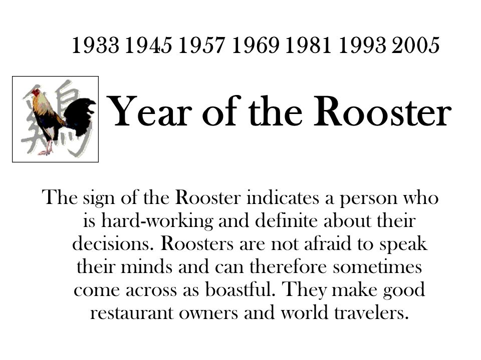 1933 1945 1957 1969 1981 1993 2005 Year of the Rooster The sign of the Rooster indicates a person who is hard-working and definite about their decisions.