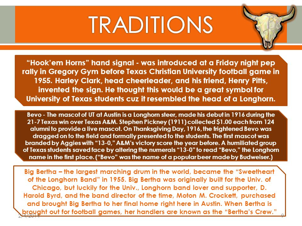 Hookem Horns hand signal - was introduced at a Friday night pep rally in Gregory Gym before Texas Christian University football game in 1955.
