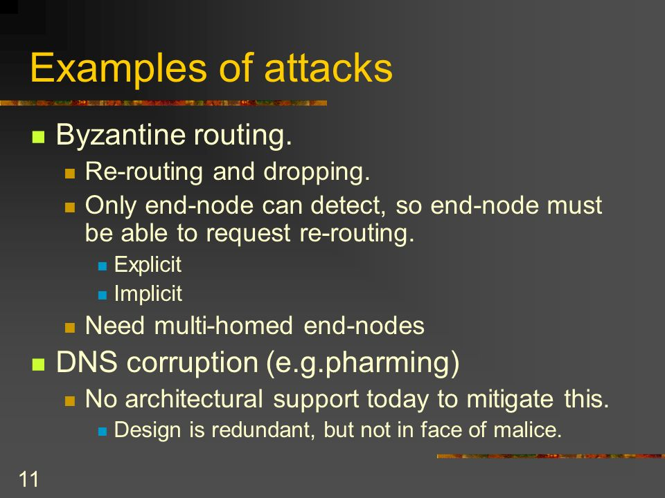 11 Examples of attacks Byzantine routing. Re-routing and dropping.