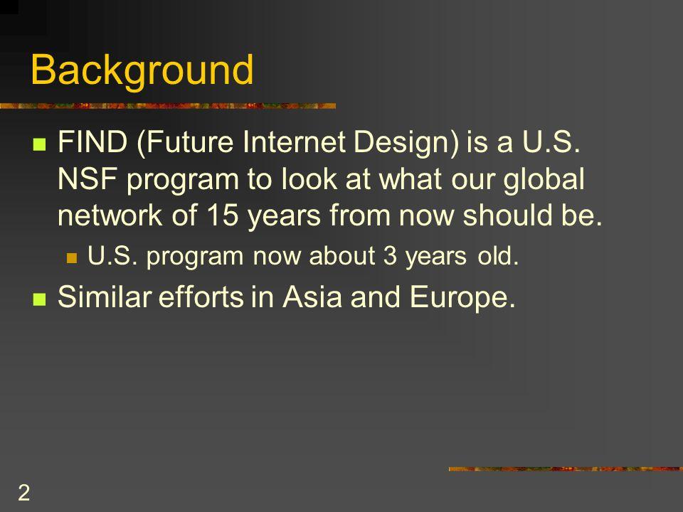 2 Background FIND (Future Internet Design) is a U.S.