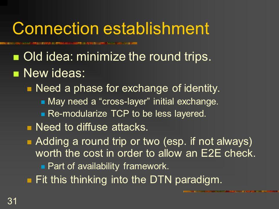 31 Connection establishment Old idea: minimize the round trips.