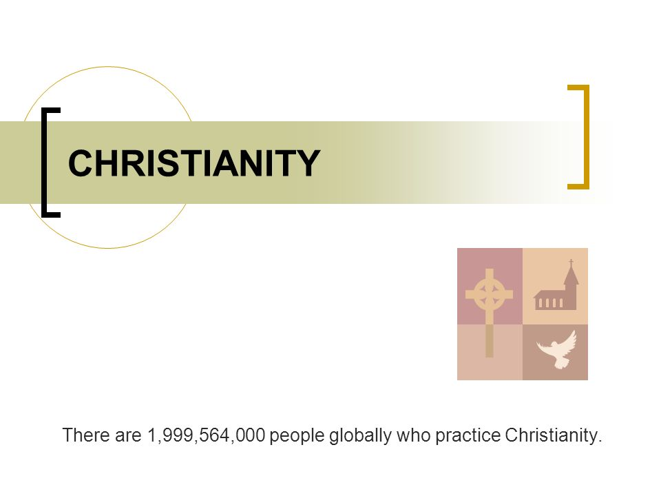 CHRISTIANITY There are 1,999,564,000 people globally who practice Christianity.