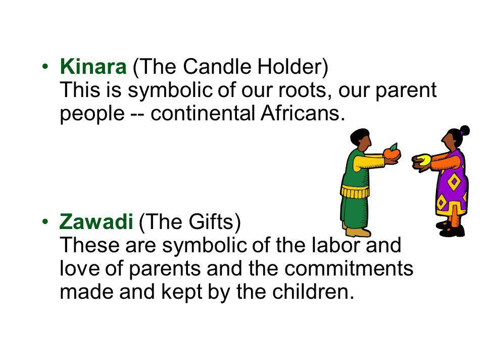 Kinara (The Candle Holder) This is symbolic of our roots, our parent people -- continental Africans. Zawadi (The Gifts) These are symbolic of the labo