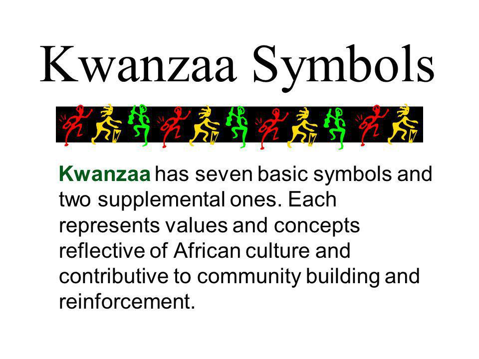Kwanzaa Symbols Kwanzaa has seven basic symbols and two supplemental ones.