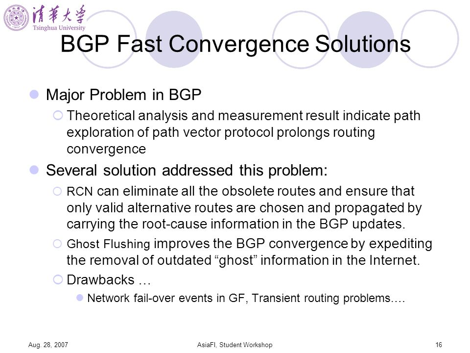 Aug. 28, 2007AsiaFI, Student Workshop16 BGP Fast Convergence Solutions Major Problem in BGP Theoretical analysis and measurement result indicate path