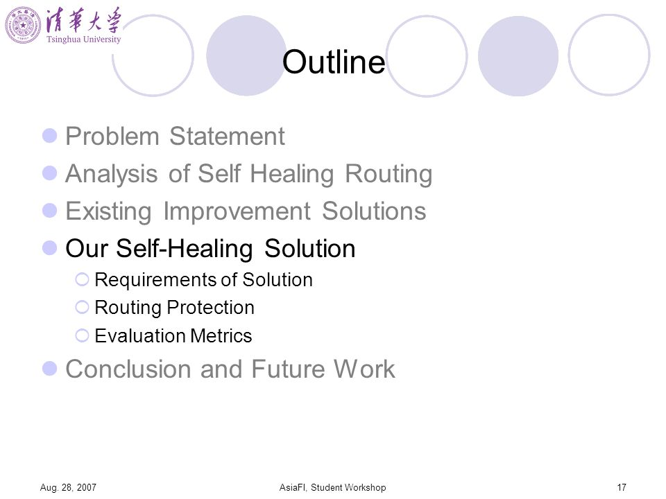 Aug. 28, 2007AsiaFI, Student Workshop17 Outline Problem Statement Analysis of Self Healing Routing Existing Improvement Solutions Our Self-Healing Sol