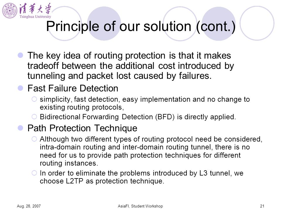 Aug. 28, 2007AsiaFI, Student Workshop21 Principle of our solution (cont.) The key idea of routing protection is that it makes tradeoff between the add