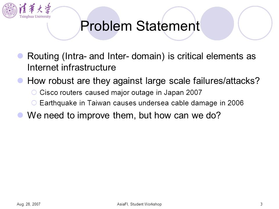 Aug. 28, 2007AsiaFI, Student Workshop3 Problem Statement Routing (Intra- and Inter- domain) is critical elements as Internet infrastructure How robust