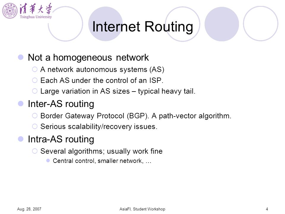 Aug. 28, 2007AsiaFI, Student Workshop4 Internet Routing Not a homogeneous network A network autonomous systems (AS) Each AS under the control of an IS