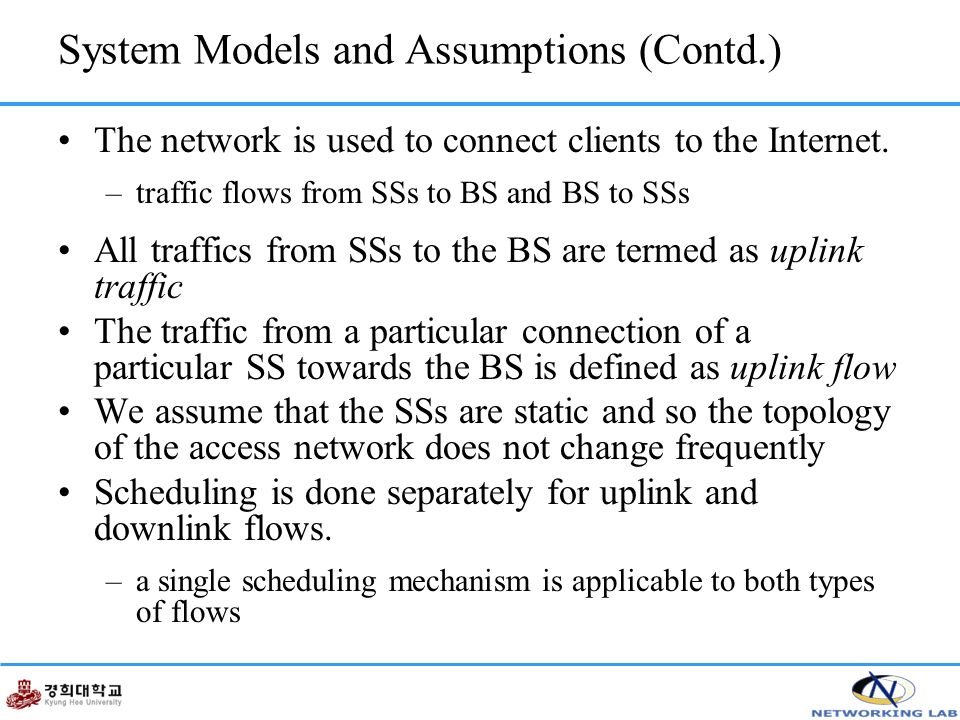 System Models and Assumptions (Contd.) The network is used to connect clients to the Internet.