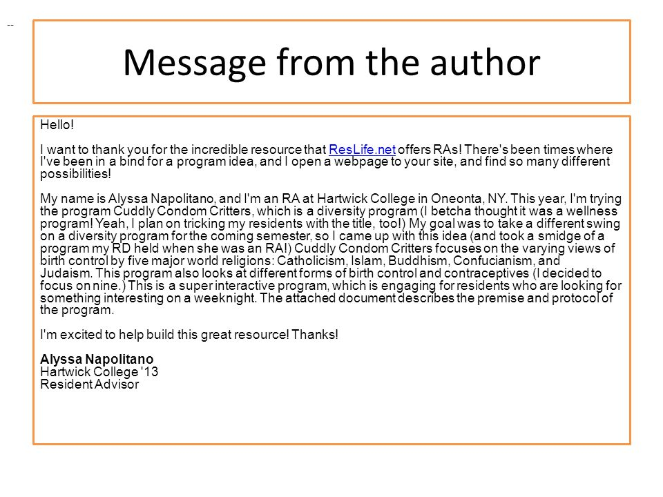 Message from the author Hello.