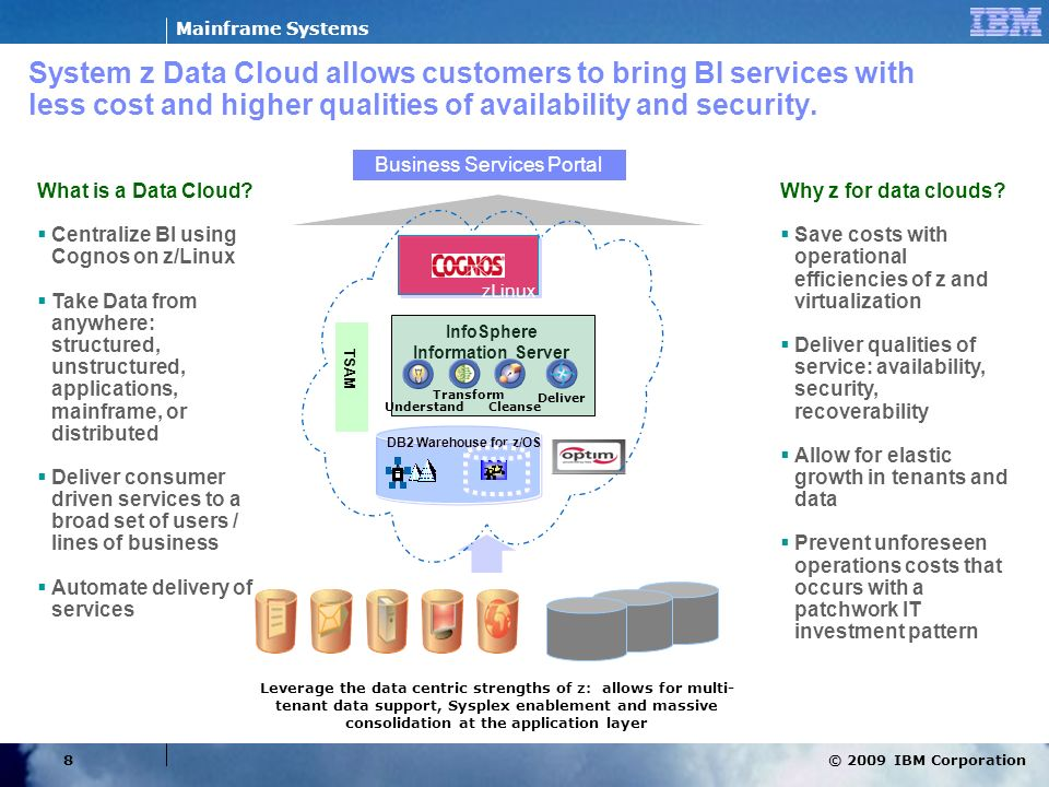 © 2009 IBM Corporation Mainframe Systems 8 System z Data Cloud allows customers to bring BI services with less cost and higher qualities of availabili