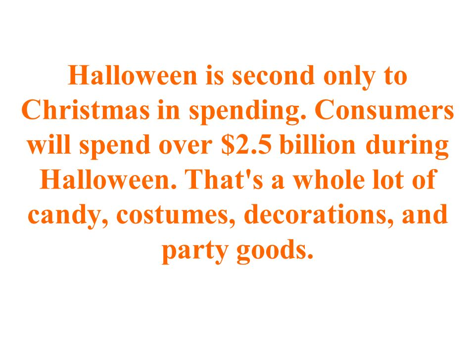 Halloween is second only to Christmas in spending.