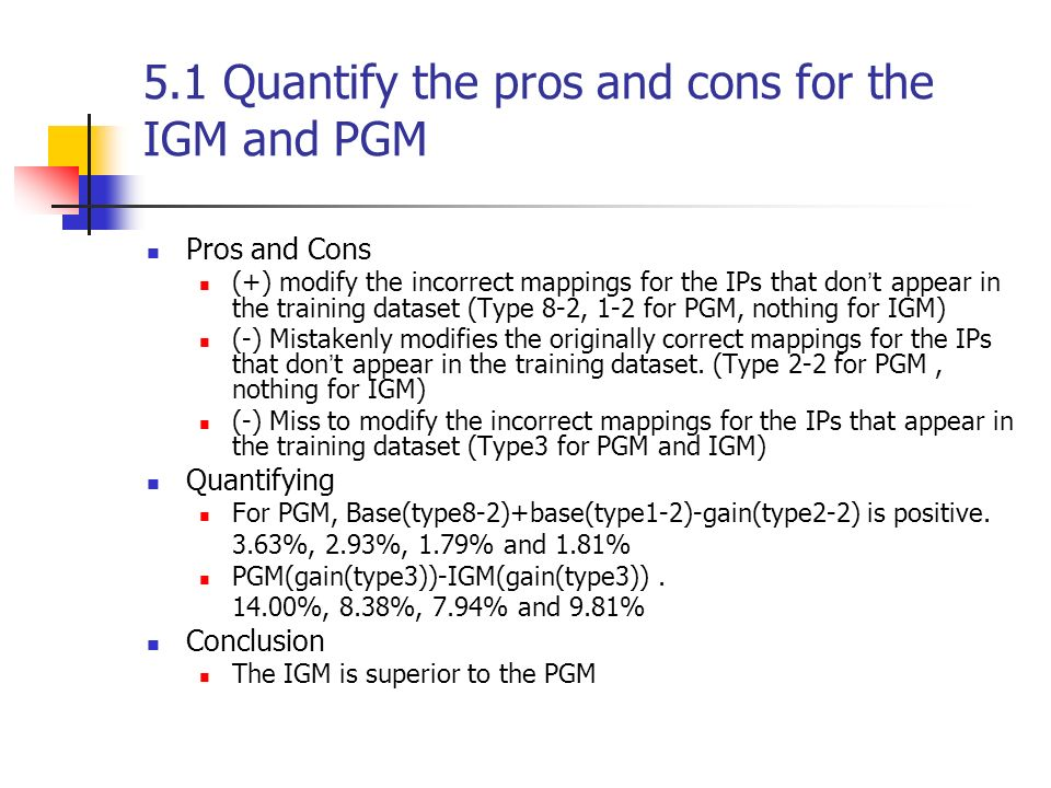 5.1 Quantify the pros and cons for the IGM and PGM Pros and Cons (+) modify the incorrect mappings for the IPs that don t appear in the training dataset (Type 8-2, 1-2 for PGM, nothing for IGM) (-) Mistakenly modifies the originally correct mappings for the IPs that don t appear in the training dataset.