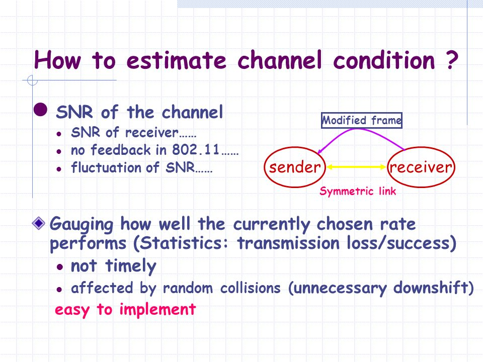 How to estimate channel condition ? SNR of the channel SNR of receiver…… no feedback in 802.11…… fluctuation of SNR…… Gauging how well the currently c