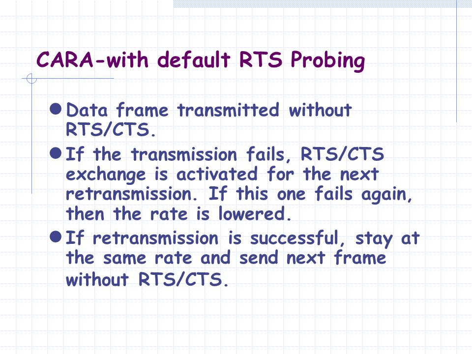 CARA-with default RTS Probing Data frame transmitted without RTS/CTS. If the transmission fails, RTS/CTS exchange is activated for the next retransmis