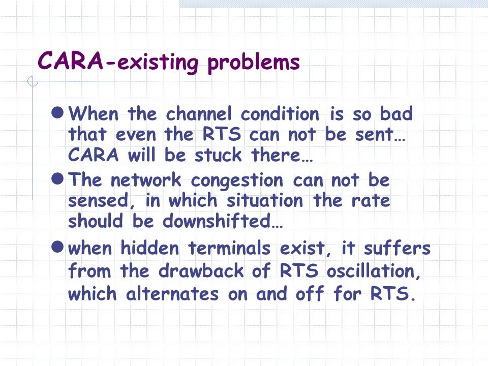 CARA -existing problems When the channel condition is so bad that even the RTS can not be sent… CARA will be stuck there… The network congestion can n