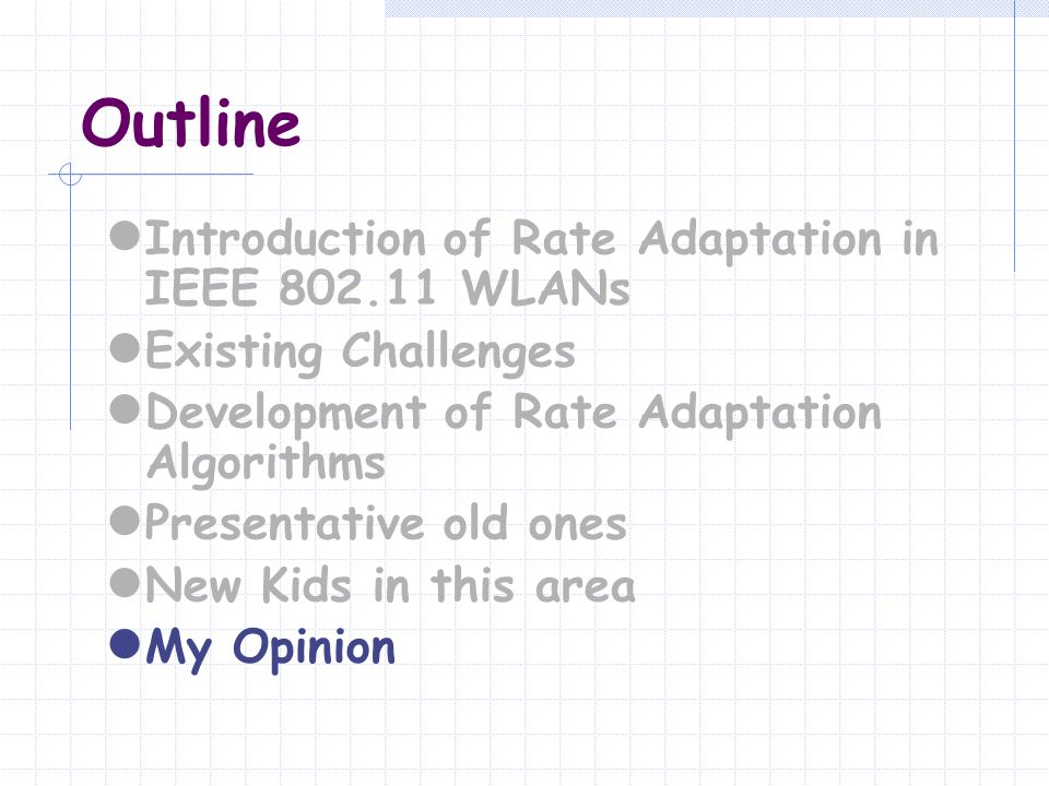 Outline Introduction of Rate Adaptation in IEEE 802.11 WLANs Existing Challenges Development of Rate Adaptation Algorithms Presentative old ones New K