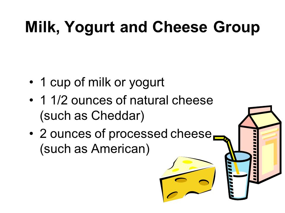Milk, Yogurt and Cheese Group 1 cup of milk or yogurt 1 1/2 ounces of natural cheese (such as Cheddar) 2 ounces of processed cheese (such as American)