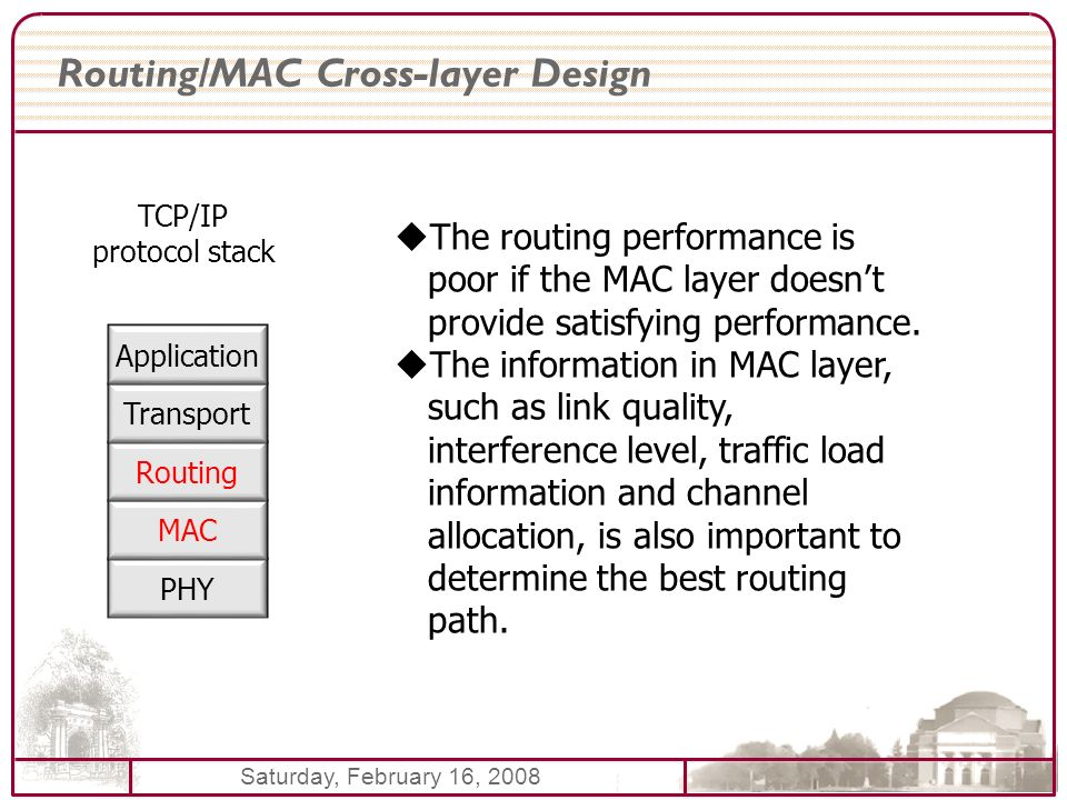 Saturday, February 16, 2008 Routing/MAC Cross-layer Design PHY MAC Routing Transport Application TCP/IP protocol stack The routing performance is poor if the MAC layer doesnt provide satisfying performance.
