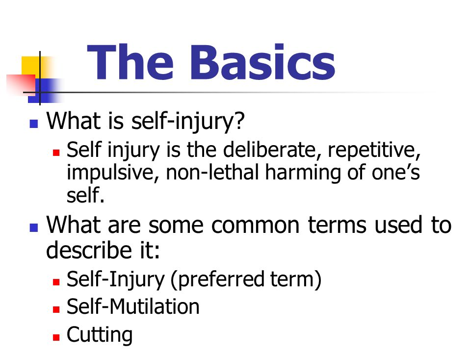 Incidence & Onset An estimated 1% of the U.S.population are self-injurers.