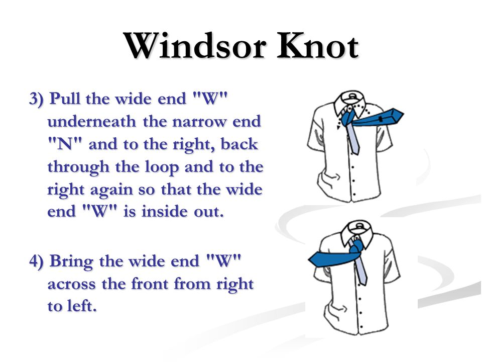 Windsor Knot 3) Pull the wide end