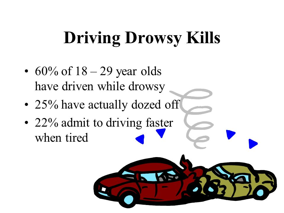 Driving Drowsy Kills 60% of 18 – 29 year olds have driven while drowsy 25% have actually dozed off 22% admit to driving faster when tired