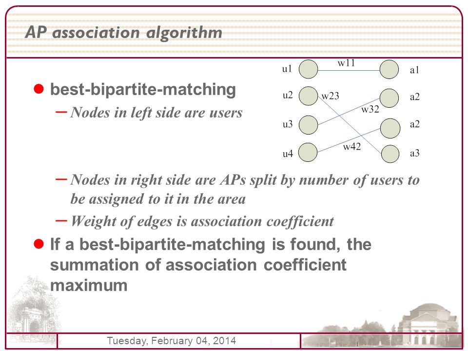 Tuesday, February 04, 2014 AP association algorithm best-bipartite-matching – Nodes in left side are users – Nodes in right side are APs split by number of users to be assigned to it in the area – Weight of edges is association coefficient If a best-bipartite-matching is found, the summation of association coefficient maximum