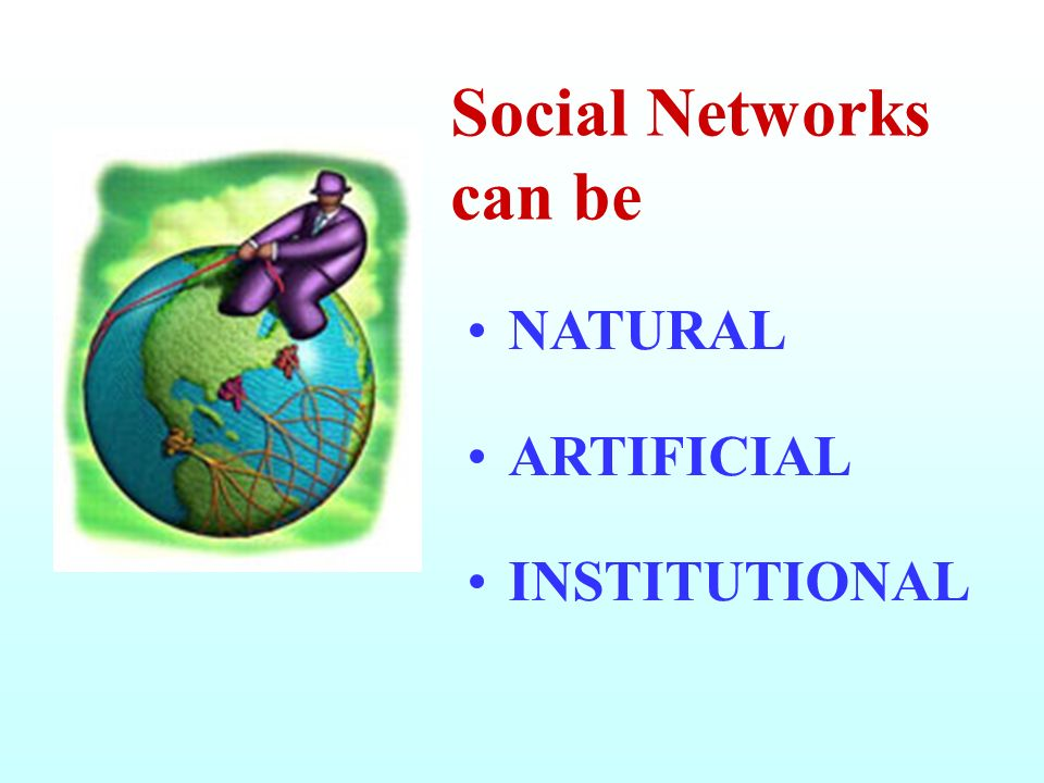 Social Networks can be NATURAL ARTIFICIAL INSTITUTIONAL