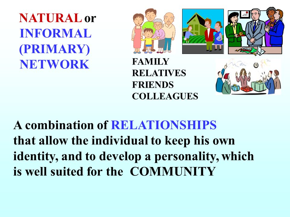 NATURAL or INFORMAL (PRIMARY) NETWORK FAMILY RELATIVES FRIENDS COLLEAGUES A combination of RELATIONSHIPS that allow the individual to keep his own ide