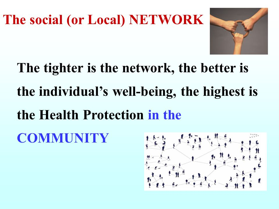 The social (or Local) NETWORK The tighter is the network, the better is the individuals well-being, the highest is the Health Protection in the COMMUN