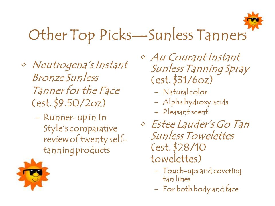 Other Top PicksSunless Tanners Neutrogenas Instant Bronze Sunless Tanner for the Face (est. $9.50/2oz) –Runner-up in In Styles comparative review of t