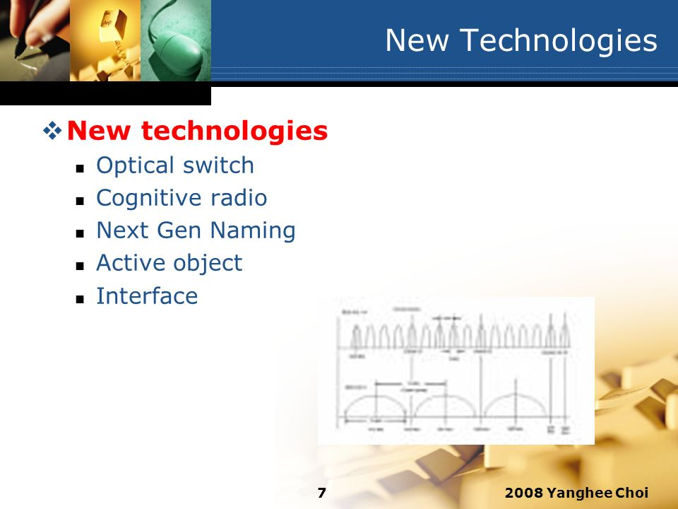 2008 Yanghee Choi7 New Technologies New technologies Optical switch Cognitive radio Next Gen Naming Active object Interface