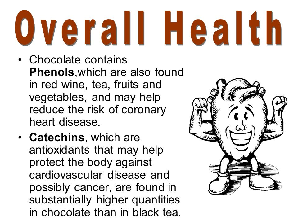 Chocolate contains Phenols,which are also found in red wine, tea, fruits and vegetables, and may help reduce the risk of coronary heart disease. Catec