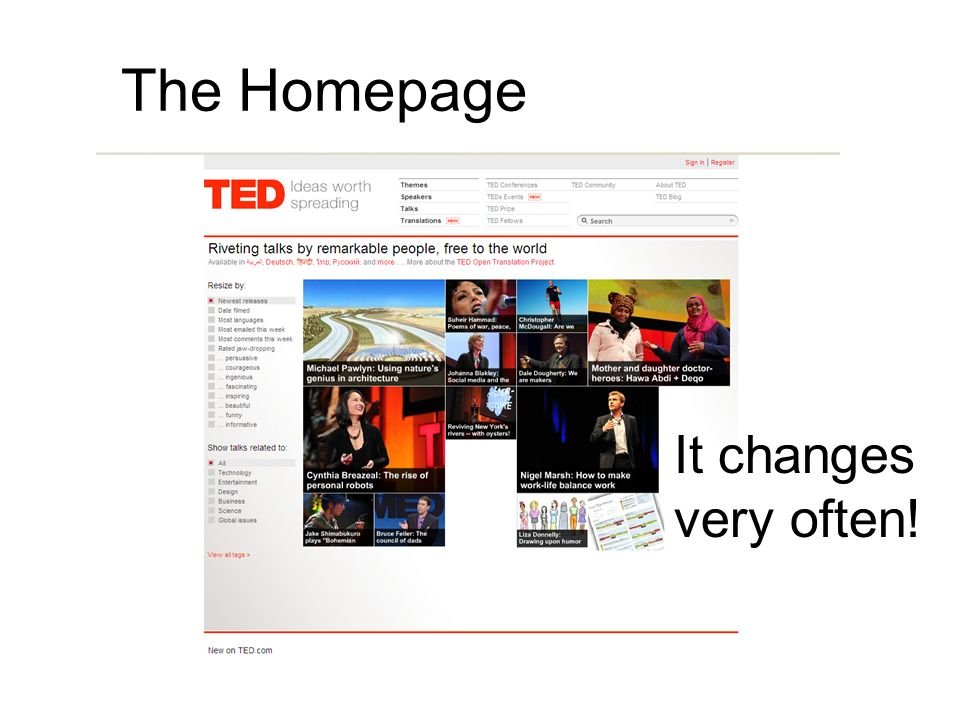 The Homepage It changes very often!