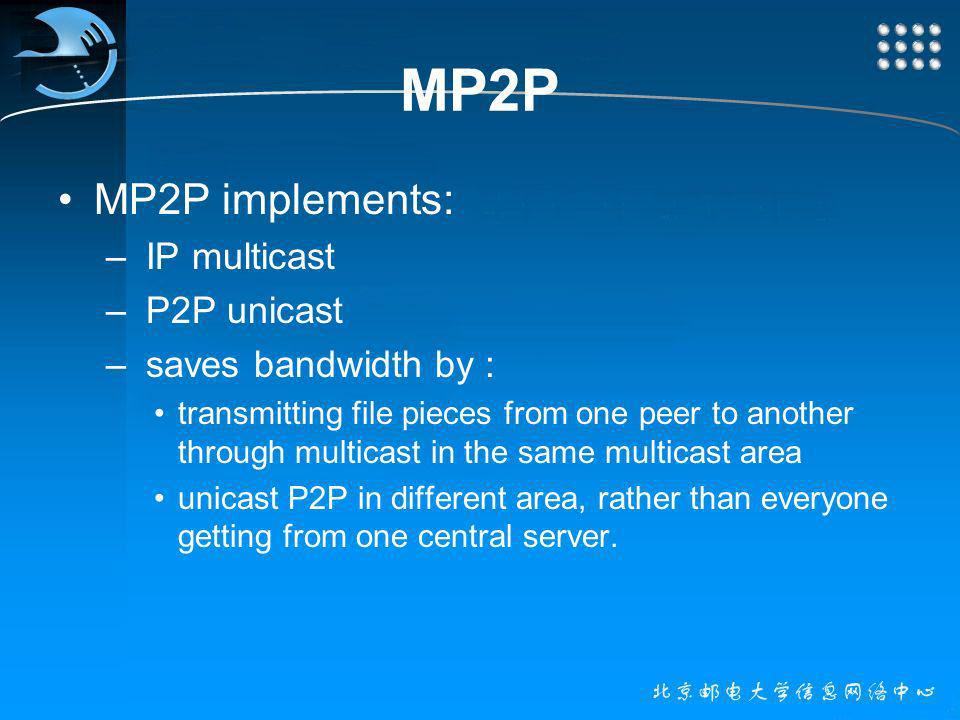 MP2P MP2P implements: – IP multicast – P2P unicast – saves bandwidth by : transmitting file pieces from one peer to another through multicast in the same multicast area unicast P2P in different area, rather than everyone getting from one central server.