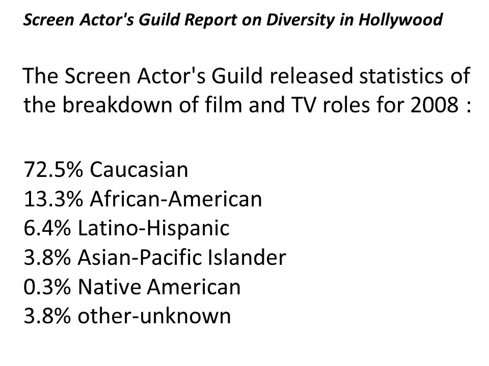 Screen Actor s Guild Report on Diversity in Hollywood The Screen Actor s Guild released statistics of the breakdown of film and TV roles for 2008 : 72.5% Caucasian 13.3% African-American 6.4% Latino-Hispanic 3.8% Asian-Pacific Islander 0.3% Native American 3.8% other-unknown