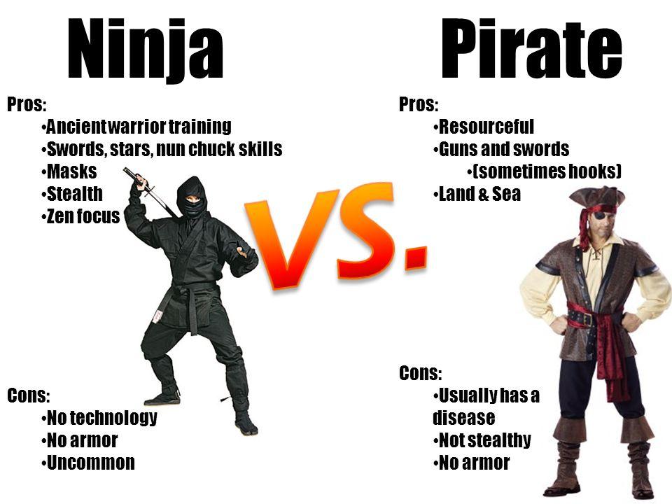 Ninja Pros: Ancient warrior training Swords, stars, nun chuck skills Masks Stealth Zen focus Cons: No technology No armor Uncommon Pirate Pros: Resour