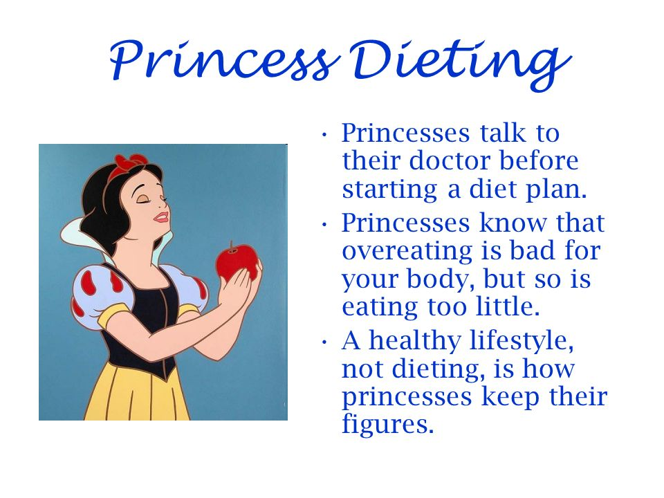Princess Dieting Princesses talk to their doctor before starting a diet plan.