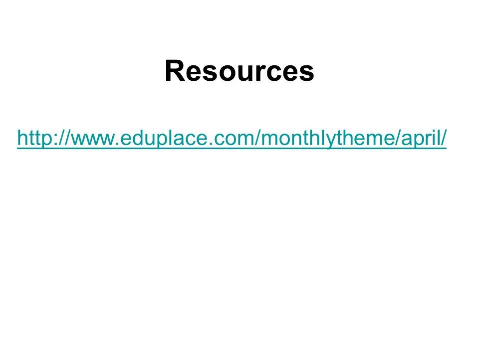 Resources http://www.eduplace.com/monthlytheme/april/