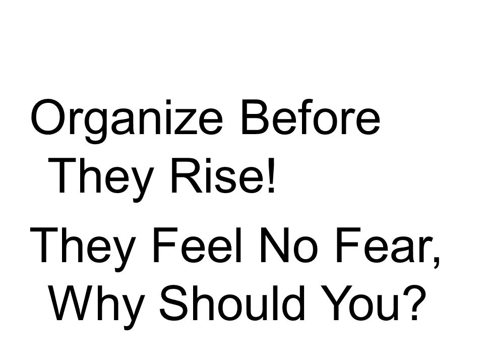 Organize Before They Rise! They Feel No Fear, Why Should You