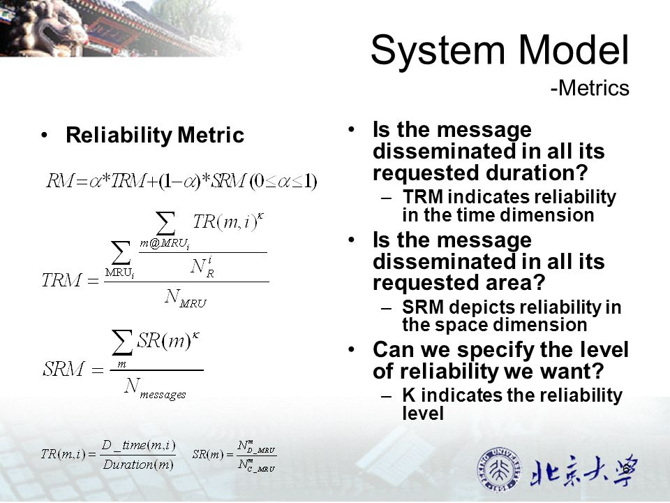 6 System Model -Metrics Reliability Metric Is the message disseminated in all its requested duration.