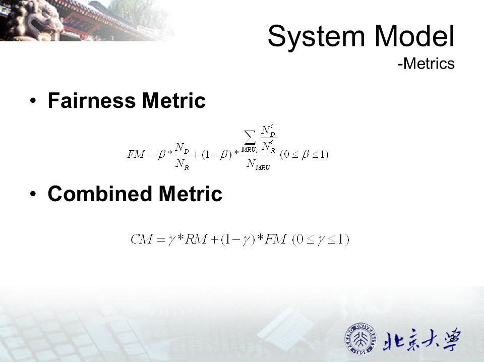 8 System Model -Metrics Fairness Metric Combined Metric