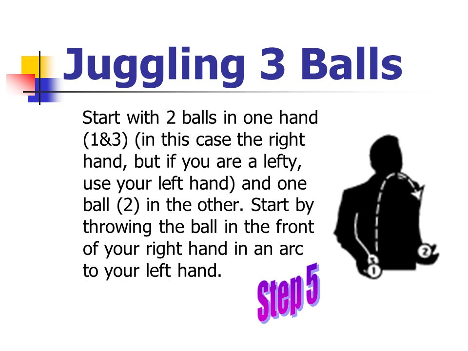 Juggling 3 Balls Start with 2 balls in one hand (1&3) (in this case the right hand, but if you are a lefty, use your left hand) and one ball (2) in th